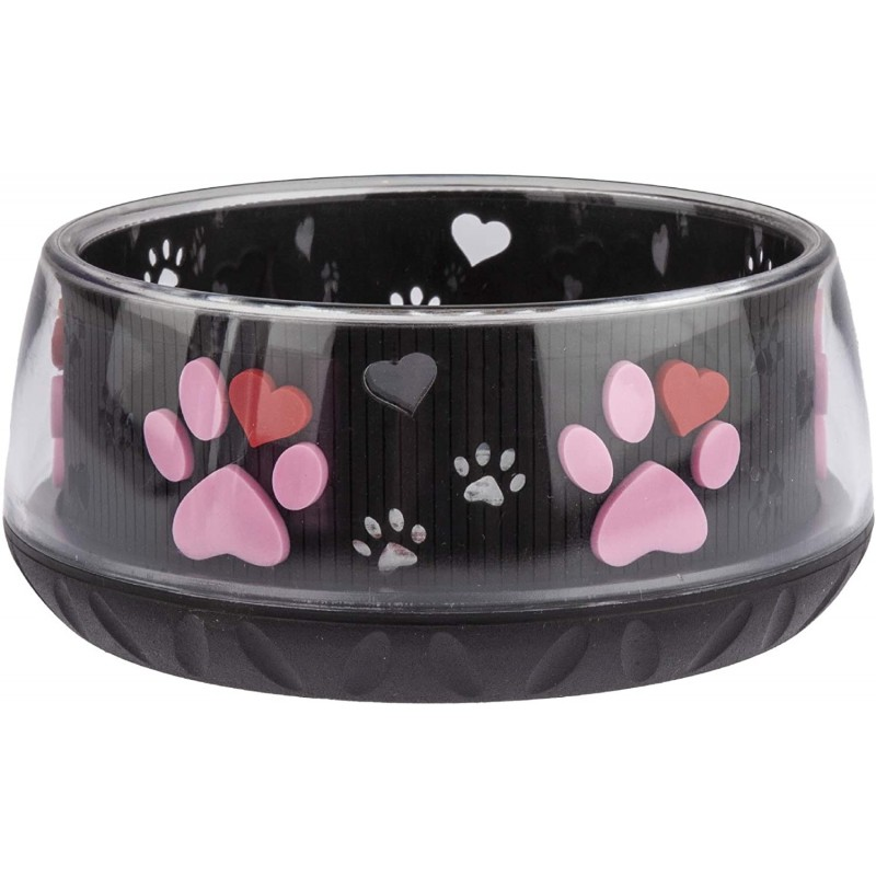 Foder- og vandskål 450 ml sort med pink poter og hjerter