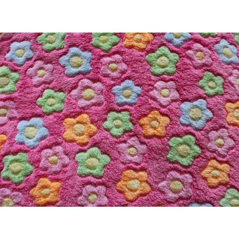 Wellness tæppe pink med blomst 140x100