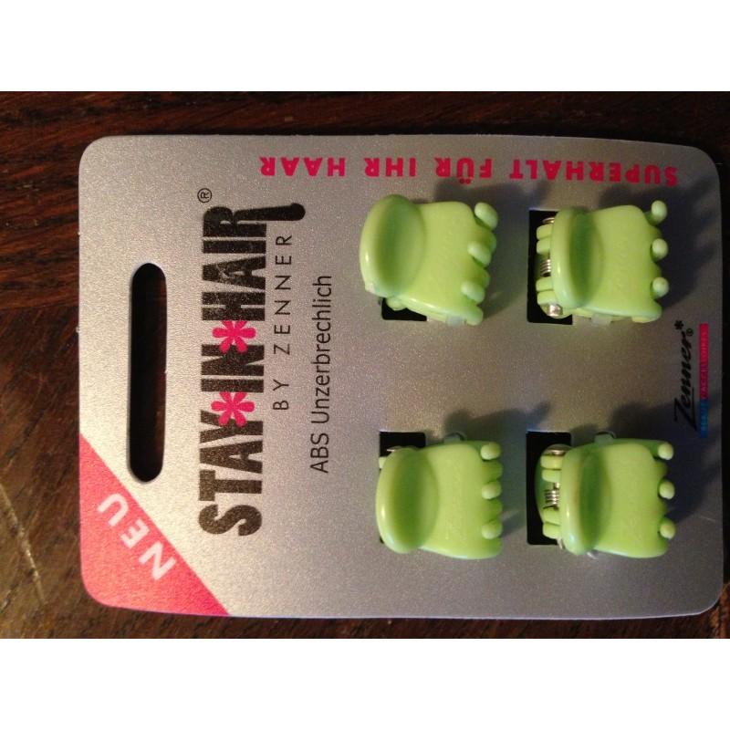 Hårklemmer med silikone 4 stk. mintgrøn 1,5 cm