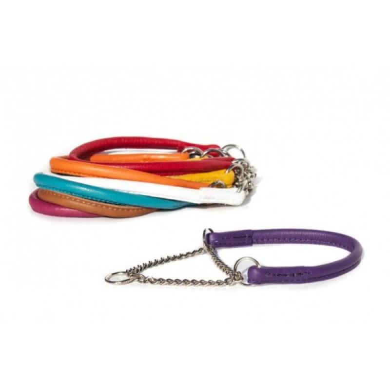 Halsbånd med kæde, rundsyet læder